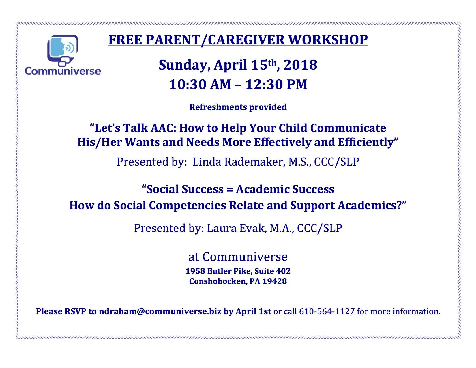 Free Parent/Caregiver Workshop
